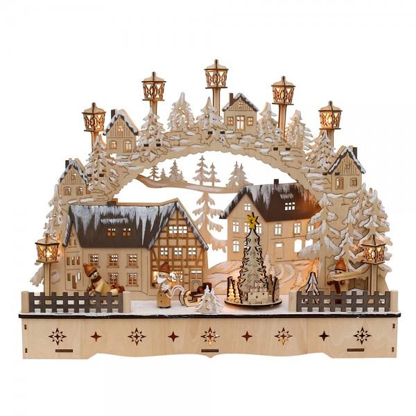 Holz Schwibbogen Stadt verschneit mit bewegtem Weihnachtsbaum, WM & Schneekindern (Laserholz) 45 x 12 x 35 cm Batteriebetrieb AA, inkl. Adapter 4,5 V, LED, Bewegung
