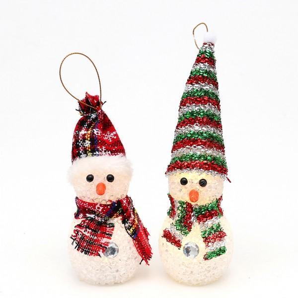 Kunststoff Schneemann mit Schal und Mütze zum anhängen 2-fach sort. 5 x 5 x 14 cm LED im Set
