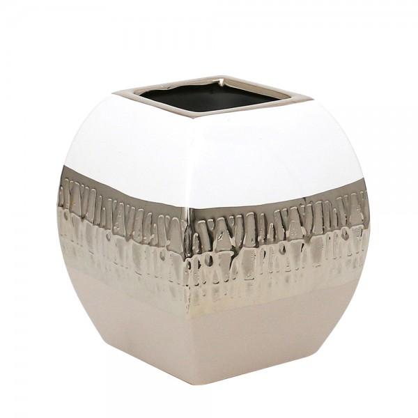 Keramik Vase Cappuccino quadratisch silber/weiß 14 x 14 x 15,5 cm