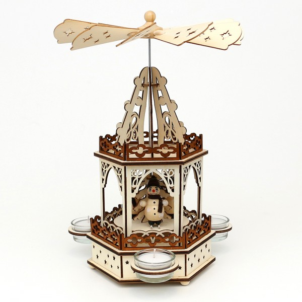Holz Teelichtpyramide Schneemänner 2 Etagen (Laserholz) für 3 Teelichte 16,5 x 14,5 x 33 cm
