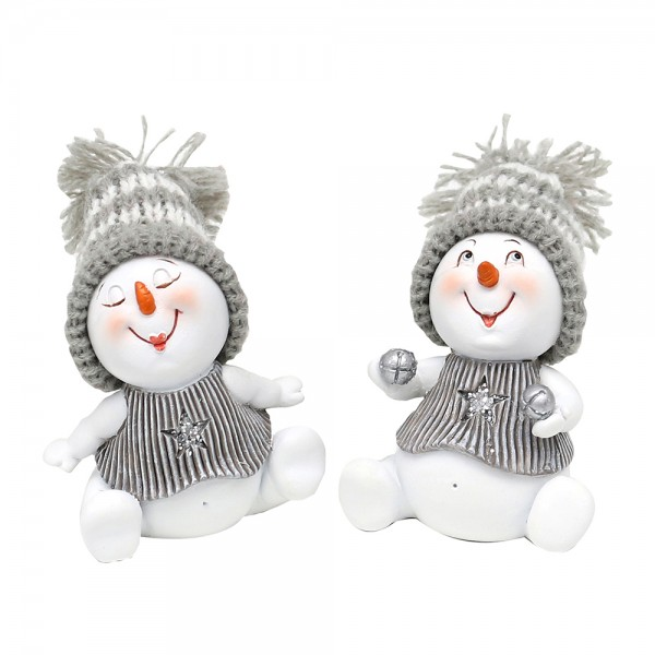 Polyresin Schneemann sitzend mit Weihnachtsdeko, weiß/silber 2-fach sort. 5 x 4,5 x 6 cm im Set
