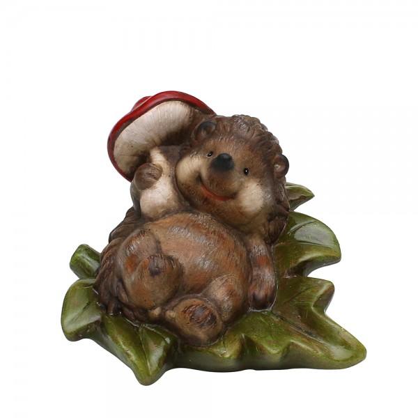 Keramik Igel liegend auf Blatt mit Pilz 21 x 17,5 x 17 cm