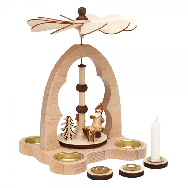 Holz Teelicht-Tischpyramide Weihnachtsmann+Schneemann für 4 Teelichte inkl. 4 Pyramidenkerzen-Adapter (Buchenholz) 16 x 18 x 24 cm