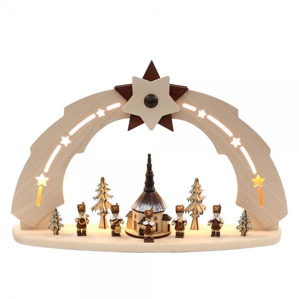 Holz Erzgebirgs-Schwibbogen Seiffener Kirche mit Bergmannszug verschneit (Bogen innen beleuchtet) 50 x 11,5 x 33 cm 230 V Kabel, LED