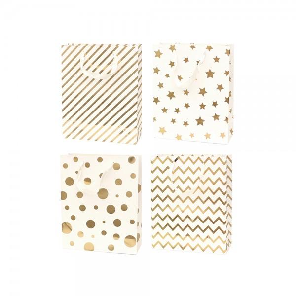 Papier Tragetasche Edel I 4-fach sort. 12 x 7 x 15,5 cm im Set