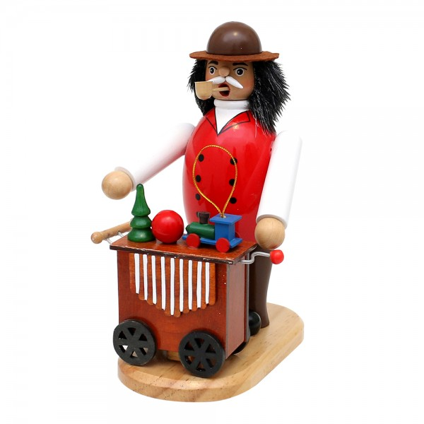 Holz Räucherfigur Drehorgelspieler Drehorgel mit Spielwerk 8 x 15 x 20 cm Spielwerk We wish you a merry Christmas