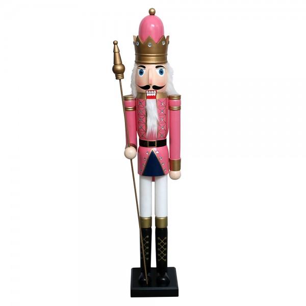 Holz Nussknacker König rosa/weiß 25 x 25 x 120 cm XL