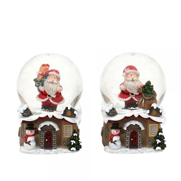 Polyresin Schneekugel Weihnachtsmann auf Haussockel 2-fach sort. 4,8 x 4,5 x 6,5 cm Ø 4,5 cm im Set