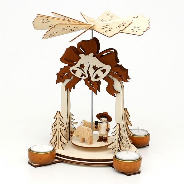 Holz Teelichtpyramide Glocke natur/braun, mit Schafen & Schäfer (Laserholz) für 4 Teelichte 19 x 19 x 25 cm