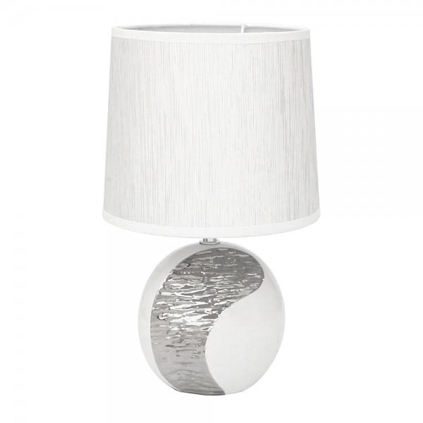 Keramik Tischlampe Elegance Kugel, weiß/silber 15 x 11,8 x 34 cm 230 V Kabel, E27