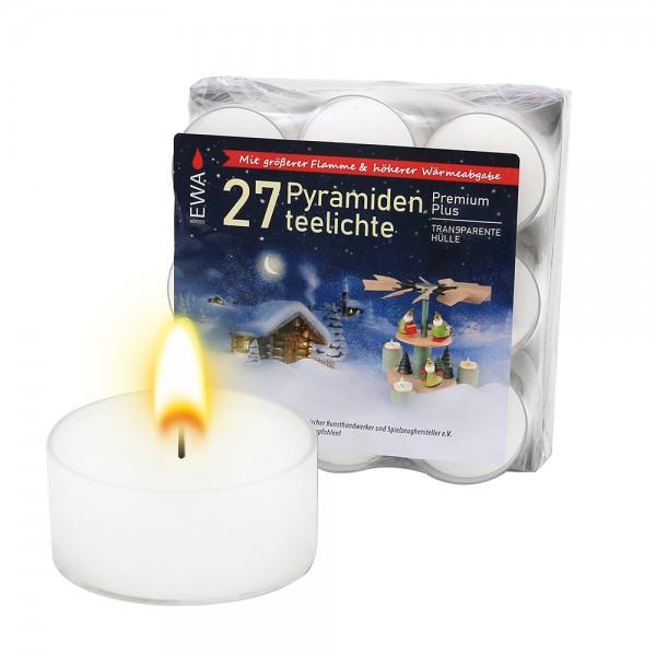 27er Set Premium-Teelichte mit transparenter Tülle für Pyramiden Blockpack 4 x 4 x 1,3 cm