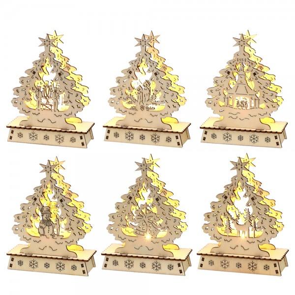 Holz Mini-Schwibbogen Weihnachtsbaum (SM, Rehe, Kerzen, Glocke, Seiffen Kirche, Bergmann) (Laserholz) 6-fach sort. 14,7 x 5 x 11 cm LED im Set