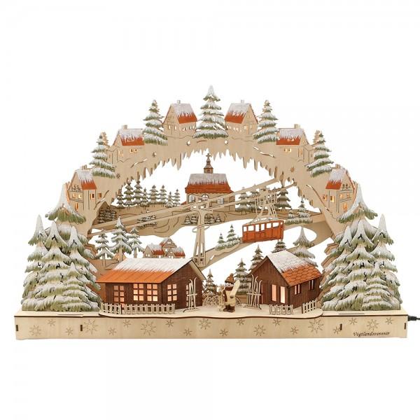 Holz Schwibbogen Skifahrer mit Seilbahn Motiv (Laserholz) 60 x 10,5 x 38 cm Batteriebetrieb AA, inkl. Adapter 4,5 V, LED