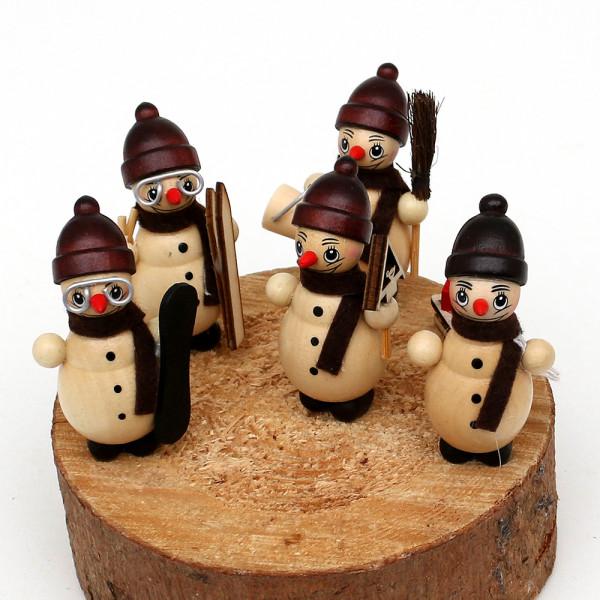 5er Set Holz Schneemannfiguren Winterspaß 2 2,5 x 2,5 x 5,5 cm
