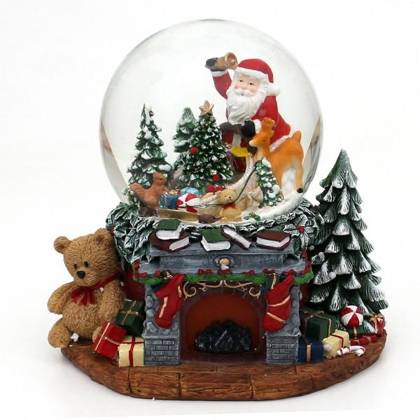 Polyresin Schneekugel Weihnachtskamin mit Santa & Tannenbaum 25,5 x 20 x 22,5 cm Ø 15 cm Batteriebetrieb AA, LED, Farbwechsel, Sound, XXL