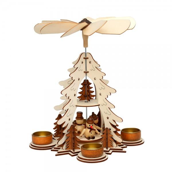 Holz Teelichtpyramide mit Schneemännern (Laserholz), natur/braun 21,5 x 21,5 x 30 cm