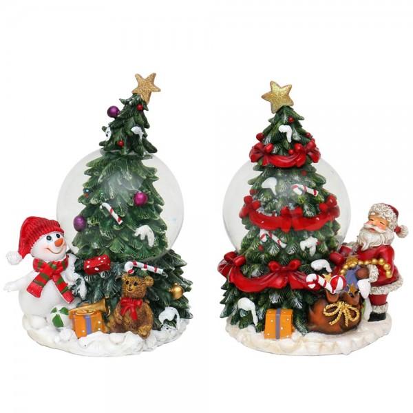 Polyresin Tannenbaum mit Schneekugel & Schnee-/Weihnachtsmann 2-fach sort. 10 x 8,5 x 13,5 cm Ø 6,5 cm im Set