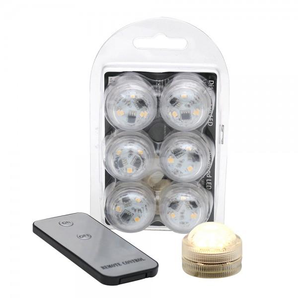 6er Set Kunststoff LED-Licht mit 3 Dioden klein mit Fernbedienung wasserfest warmweiß 3 x 3 x 2,5 cm LED