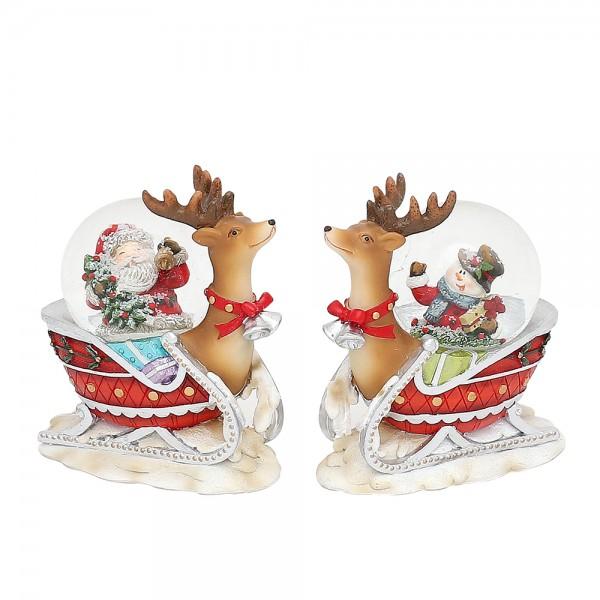 Polyresin Schneekugel Rentierschlitten Schnee- & Weihnachtsmann 2-fach sort. 8 x 4,5 x 9 cm Ø 4,5 cm im Set