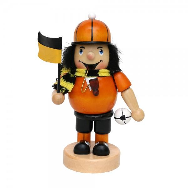 Holz Räuchermann Fußballer, gelb/schwarz 8 x 6,5 x 16 cm