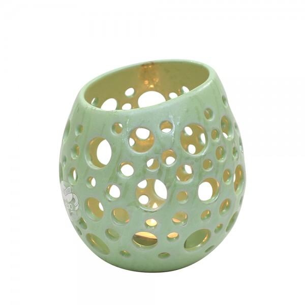 Keramik Windlicht-Ei mit Löchern, SAVA 11,5 x 11,5 x 12,5 cm