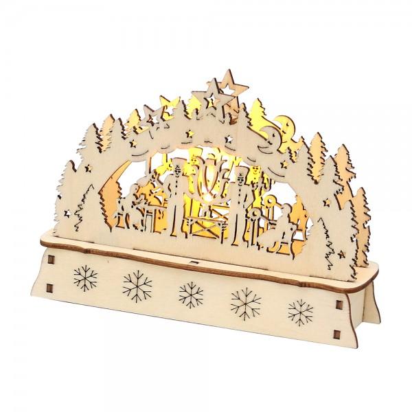 Holz Mini-Schwibbogen Bergmann (Laserholz) 15 x 5 x 10,7 cm Batteriebetrieb AA, LED