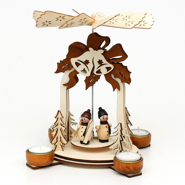 Holz Teelichtpyramide Glocke natur/braun, mit Schneemannfiguren (Laserholz) für 4 Teelichte 19 x 19 x 25 cm
