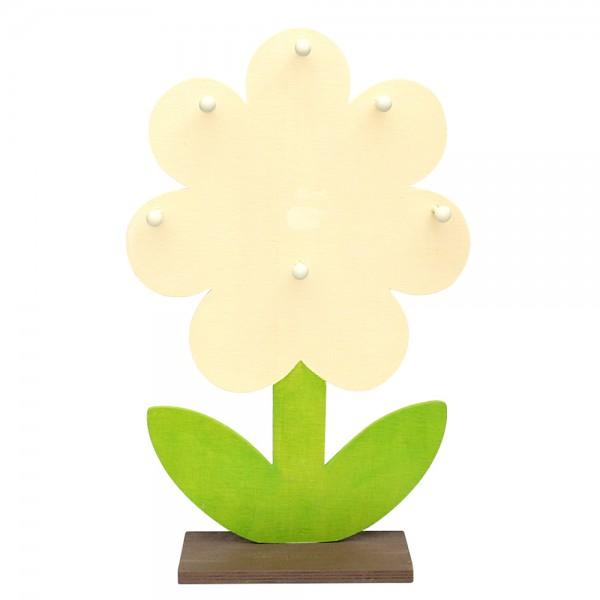 Holz Display Blume mit 6 Haken für Behangartikel (Flachholz ohne Deko) 30 x 10 x 46,5 cm