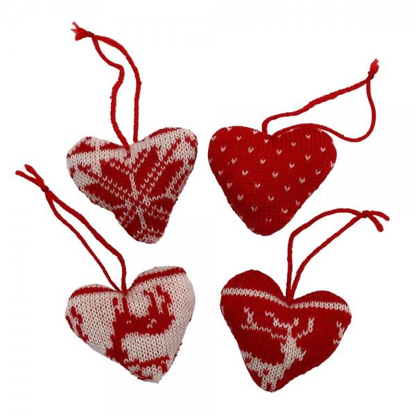 Textil Strick-Herzen Norweger-Design zum Anhängen 4-fach sort. 2 x 7 x 7 cm im Set