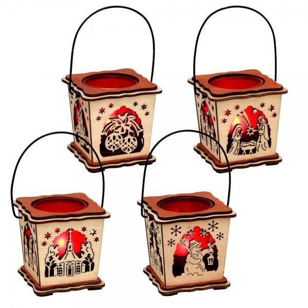 Holz Teelichthalter Laterne mit rotem Glaseinsatz (Laserholz) 4-fach sort. 8 x 8 x 8 cm im Set