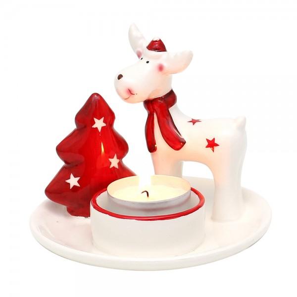 Dolomite Teelichtteller mit Rentier & Baum weiß/rot glasiert 11,5 x 11,5 x 9,3 cm