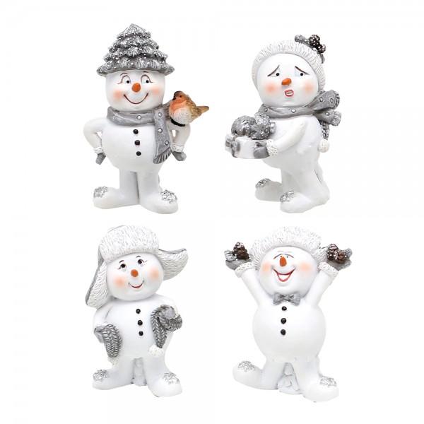 Polyresin Schneemann mit Weihnachtsdeko, weiß/silber 4-fach sort. 4 x 3 x 5 cm im Set