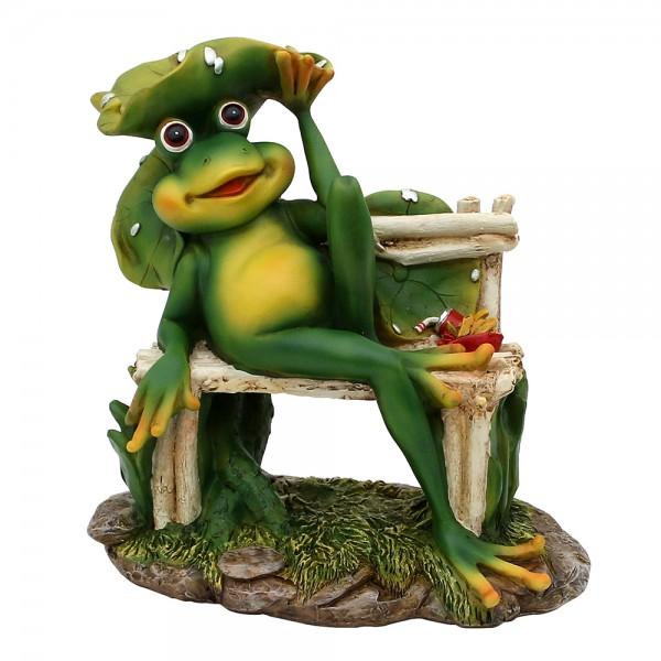 Polyresin Frosch auf Bank mit Blatt 23 x 16,5 x 24 cm