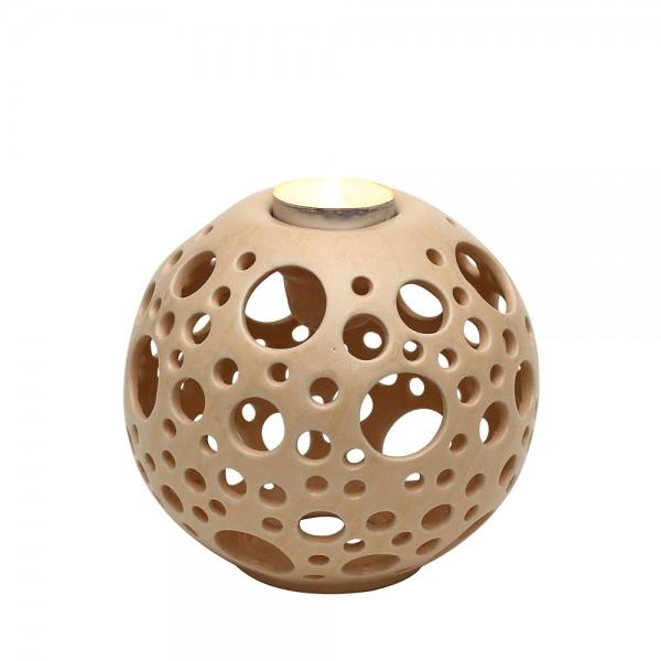 Keramik Kerzenhalter Orion, Champagner 14 x 14 x 13,5 cm