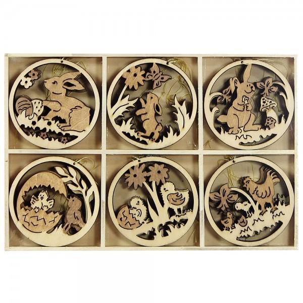24er Set Holz Baumbehang Ostern (Laserholz), natur/braun 19 x 13 x 1,5 cm
