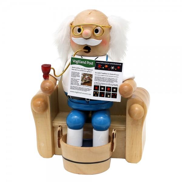 Holz Räucherfigur Opa im Sessel mit Fußbad 11 x 8,5 x 14 cm