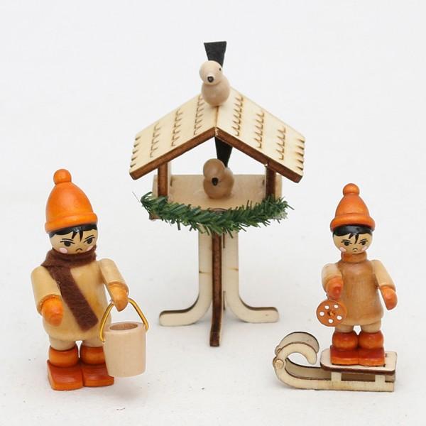 3er Set Holz Vogelhaus & Winterfiguren Vogelfütterung 4,5 x 3,5 x 8 cm