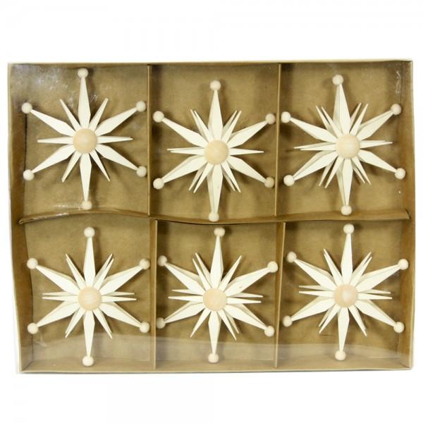 6er Set Holz Spansterne Aufsatz für Spitzkerzen 9 x 3 x 9 cm