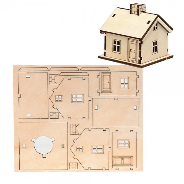 Holz Bausatz Laser-Haus (6,5 x 6,5 x 6,5 cm) zum Selbstbauen 17,5 x 0,3 x 14,5 cm