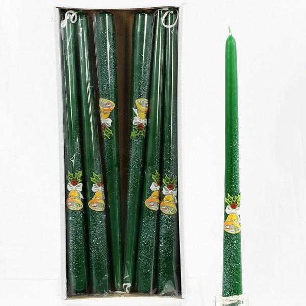 Leuchterkerze Glocke, uni dunkelgrün 2,3 x 2,3 x 30 cm