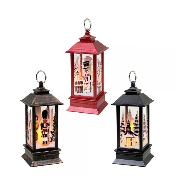 Kunststoff LED-Mini-Laterne schwarz-metallic,rot-metallic, braun/gold mit Kerze und Weihnachtsmotiven 3-fach sort. 5,5 x 5,5 x 12,5 cm LED im Set