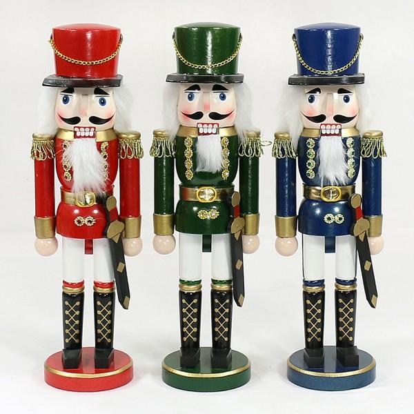 Holz Nussknacker Soldat, rot/blau/grün metallic 3-fach sort. 10 x 9 x 35 cm im Set