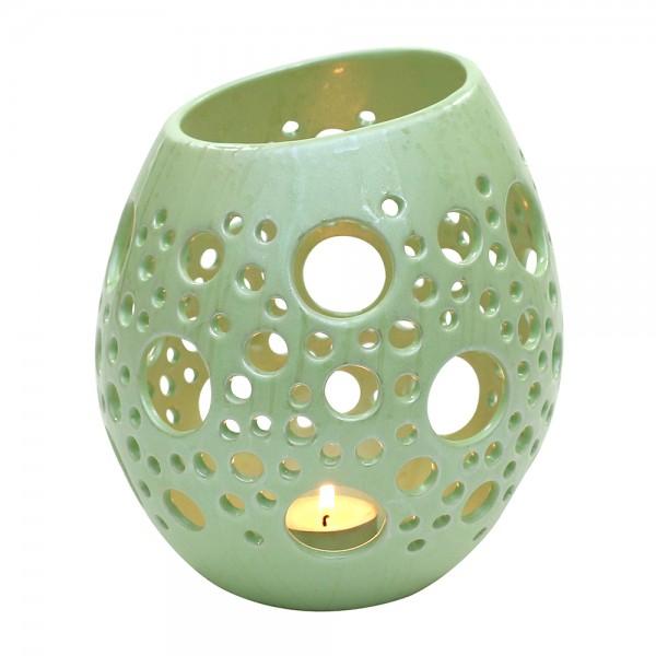 Keramik Windlicht-Ei mit Löchern, SAVA 17 x 16 x 20,5 cm