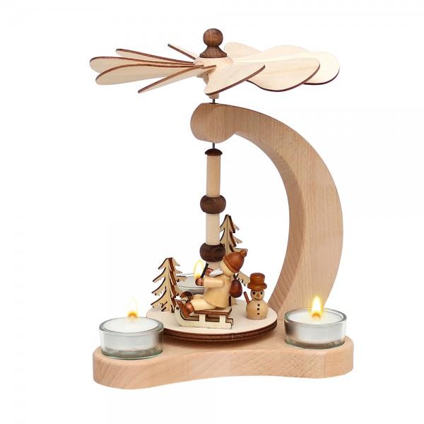 Holz Tischpyramide Santa & Schneemann für 3 Teelichte (Buchenholz) 14 x 18 x 24 cm