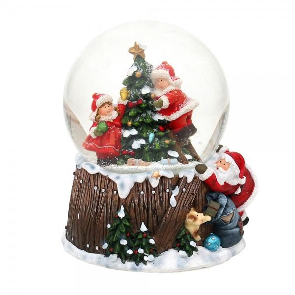 Polyresin Schneekugel Kinder am Tannenbaum 11,5 x 11 x 14,5 cm Ø 10 cm Spielwerk Oh du Fröhliche