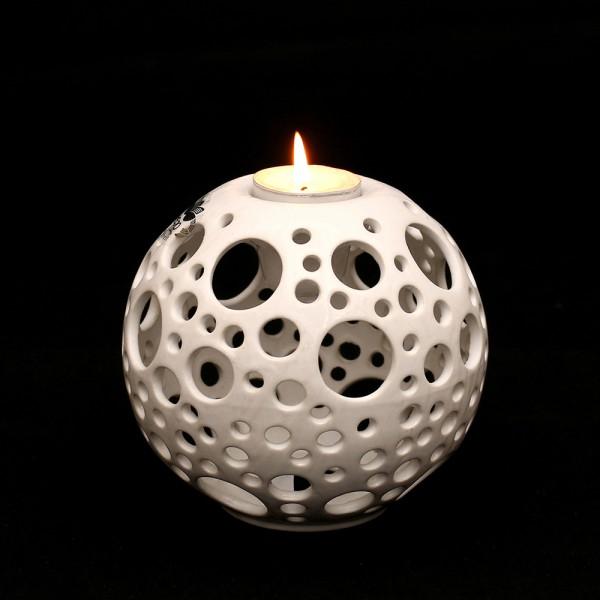 Keramik Kerzenhalter Orion, Weiß 14 x 14 x 13,5 cm