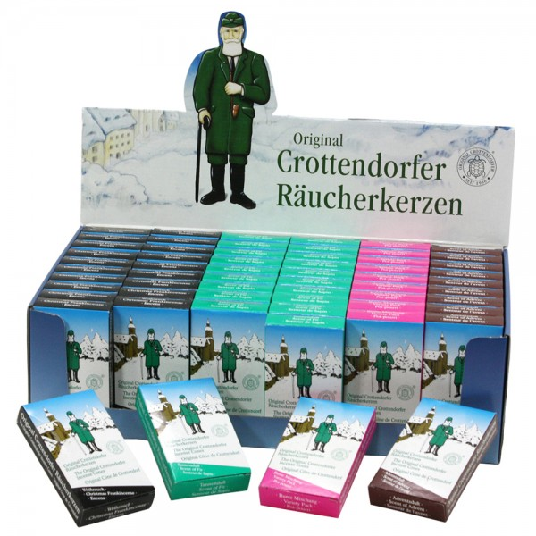 60er Set Crottendorfer-Räucherkerzen Erzgebirgssortierung (je 20 Weihrauch/20 Tanne/10 Bunte Mischung/10 Adventsduft) im Display 38 x 22,5 x 11 cm