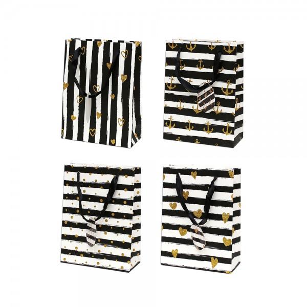 Papier Tragetasche Muster II mit Glitter ca. Din A5 4-fach sort. 18 x 8 x 24 cm im Set