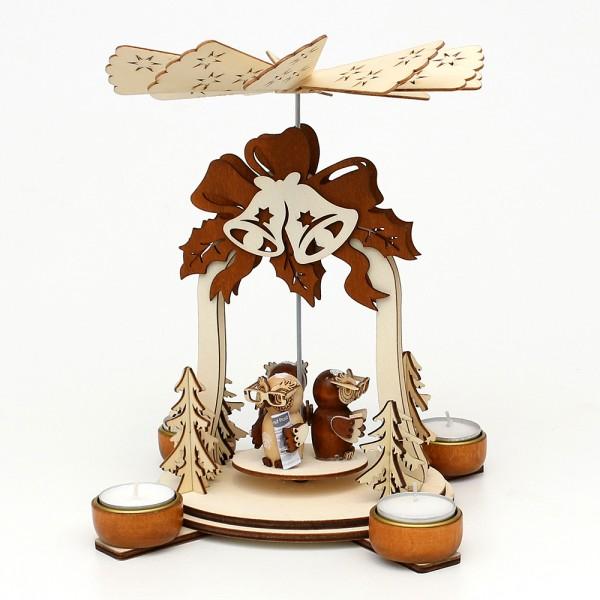 Holz Teelichtpyramide Glocke natur/braun, mit Eulenfiguren (Laserholz) für 4 Teelichte 19 x 19 x 25 cm