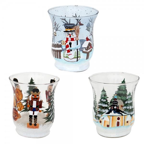 Glas Teelichtbecher Nussknacker, Seiffen, Räucher-Schneemann 3-fach sort. 8 x 8 x 9 cm im Set